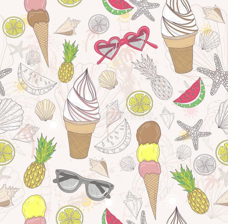 Leuk de zomer abstract patroon stock illustratie