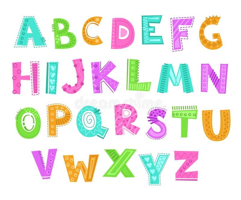 Leuk decoratief grappig kinderachtig alfabet Vector grappige doopvontillustratie stock illustratie