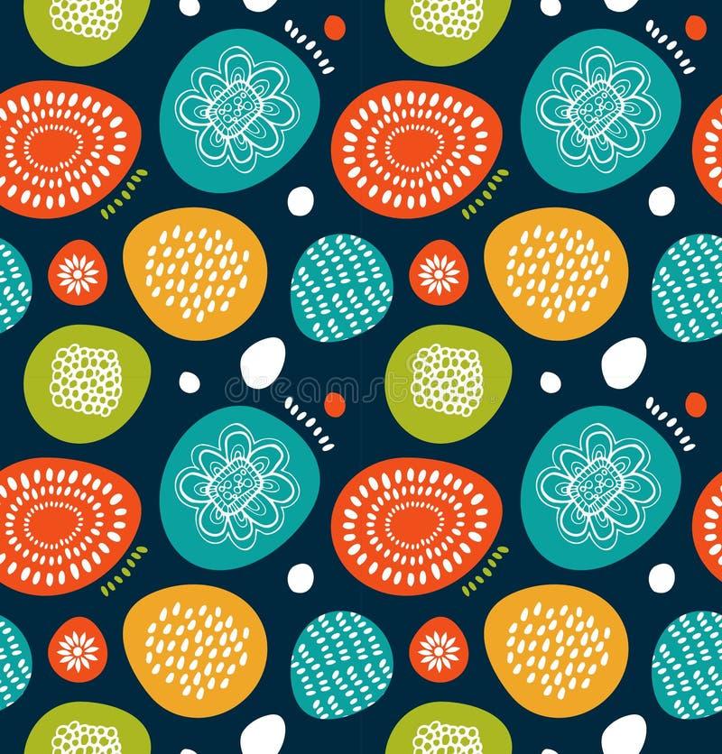 Leuk decoratief patroon in Skandinavische stijl Abstracte achtergrond met kleurrijke eenvoudige vormen Leuk decoratief patroon in vector illustratie