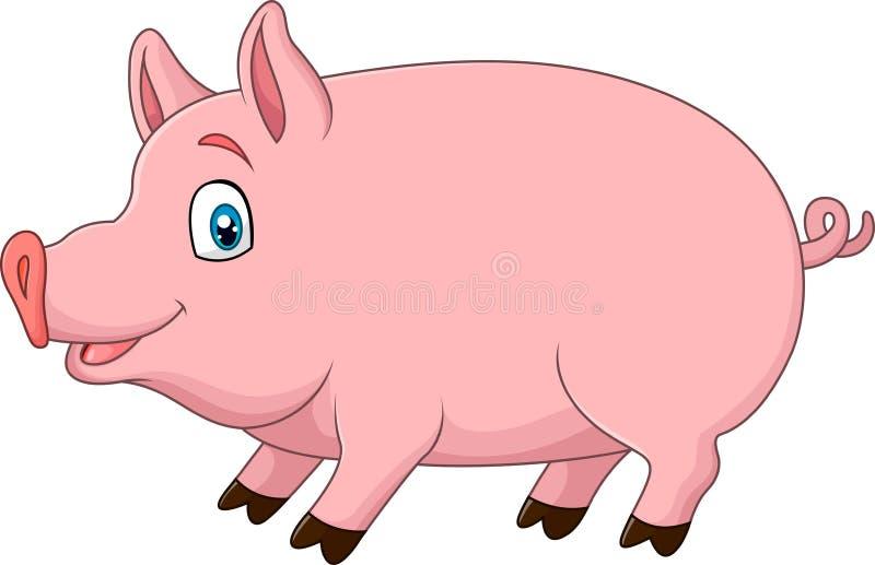 Leuk die varken op witte achtergrond wordt geïsoleerd royalty-vrije illustratie