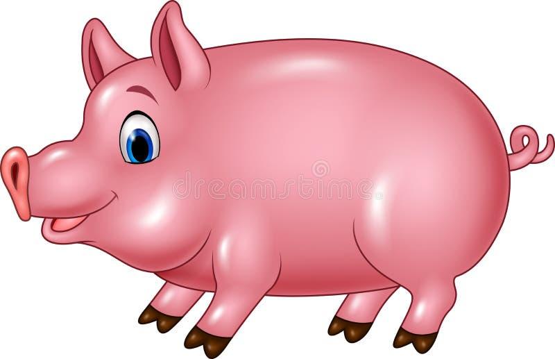 Leuk die varken op witte achtergrond wordt geïsoleerd stock illustratie