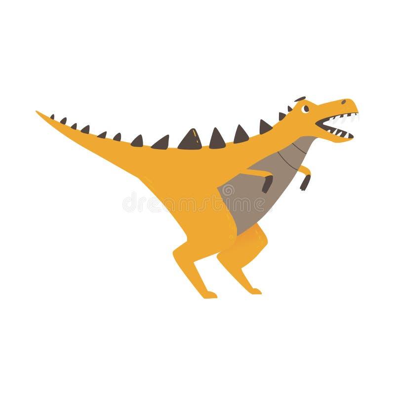 Leuk dinosaurusmonster die vectordieillustratie proberen te doen schrikken op achtergrond wordt geïsoleerd royalty-vrije illustratie