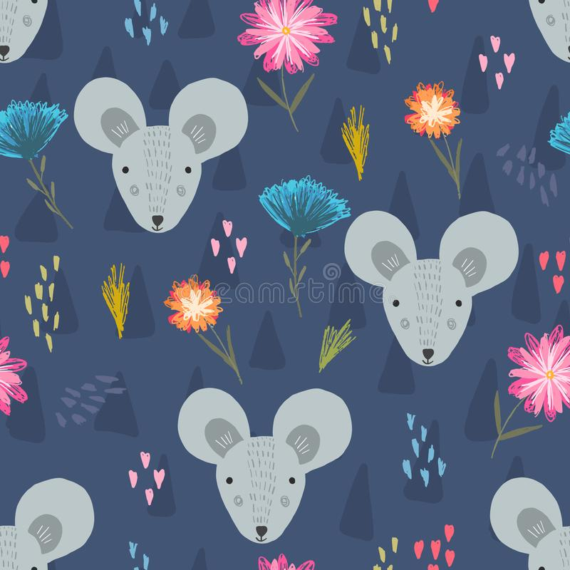 Leuk donkerblauw patroon met muishoofden en bloem stock illustratie