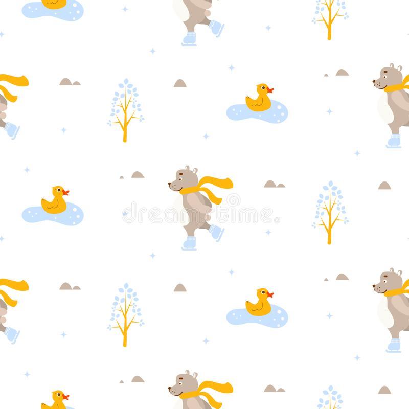 Leuk draag en eend ijs-schaatsend op vijver naadloos vectorpatroon stock illustratie