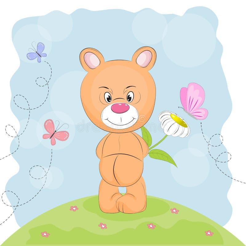 Leuk draag met bloem en vlinders op een weide stock illustratie