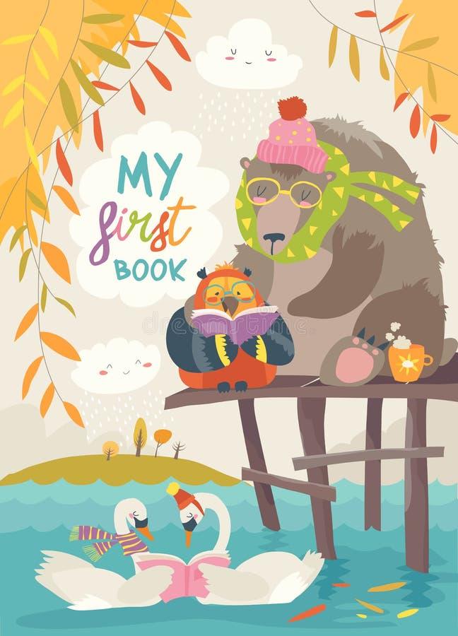 Leuk draag, uil en zwanen lezend boeken in de herfstbos royalty-vrije illustratie