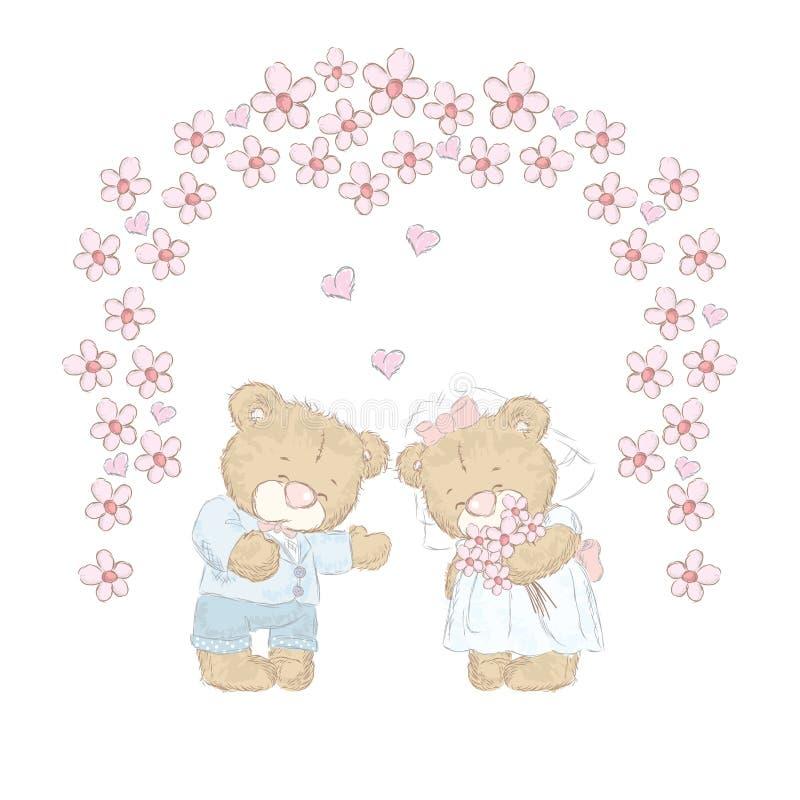 Leuk draag welpen die met de hand werden getrokken Leuke teddyberenvector Huwelijk vector illustratie