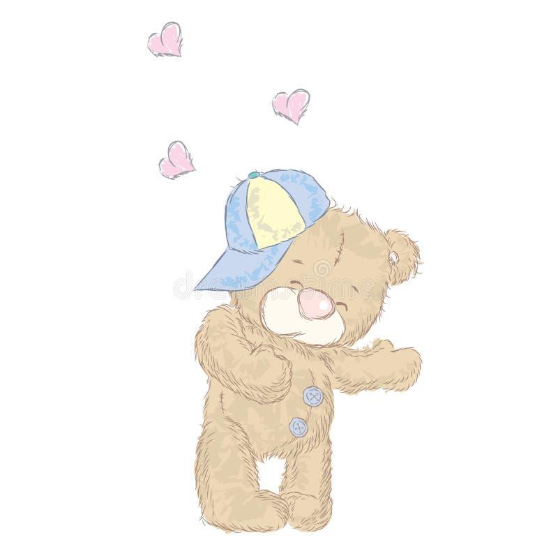 Leuk draag welpen die met de hand werden getrokken Vectorteddy bear stock illustratie