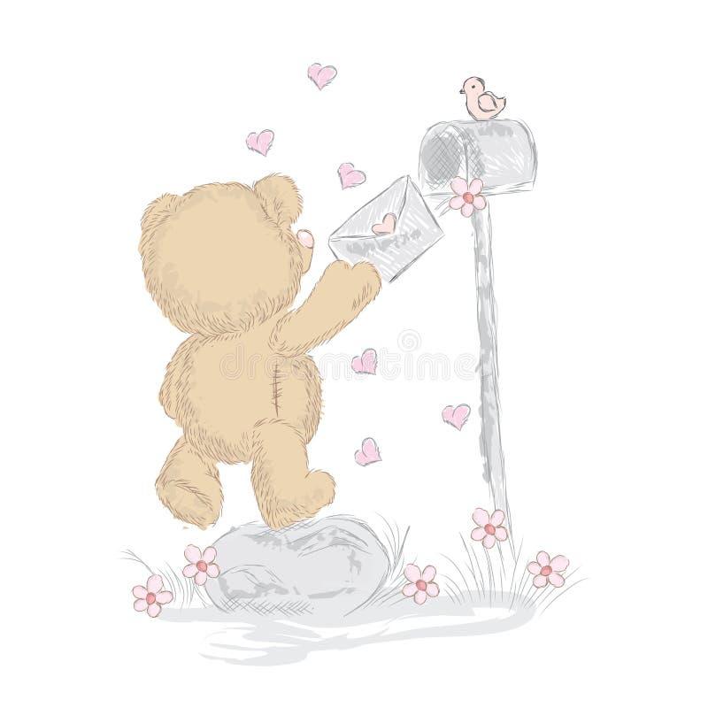 Leuk draag welpen die met de hand werden getrokken Vectorteddy bear royalty-vrije illustratie