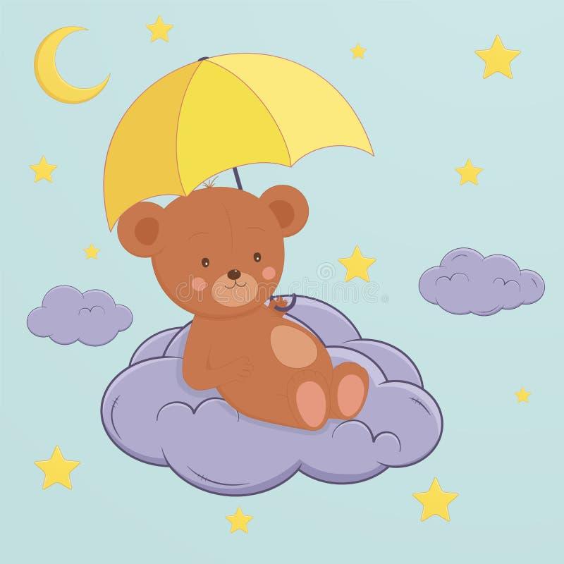 Leuk draag zit op maan onder een paraplu Kinderen` s ontwerp voor stock illustratie