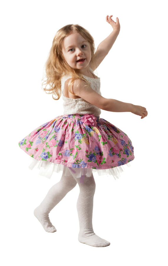 Leuk driejarig meisje die die met vreugde springen op witte achtergrond wordt geïsoleerd royalty-vrije stock fotografie