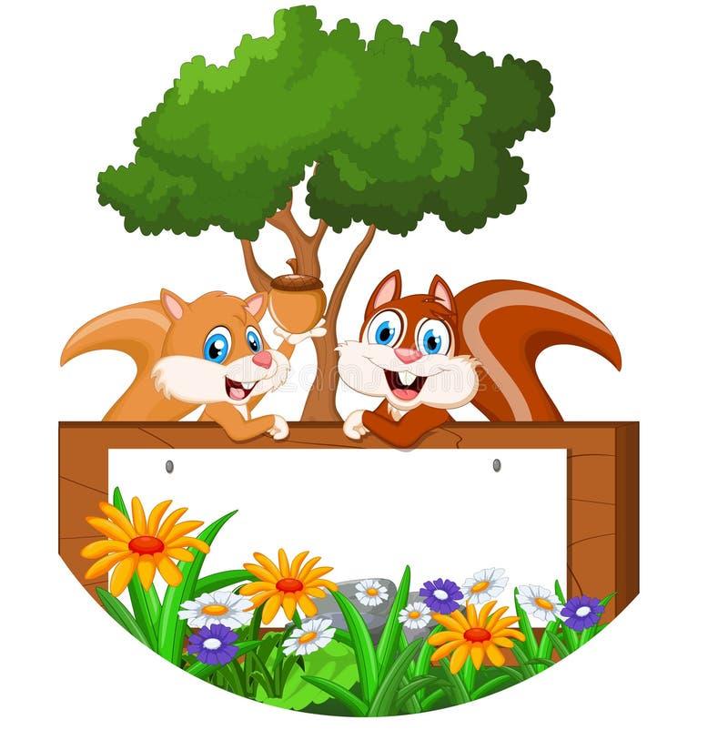Leuk eekhoornbeeldverhaal met leeg teken stock illustratie