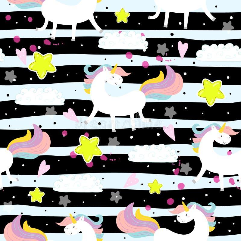 Leuk eenhoorn vectorpatroon vector illustratie