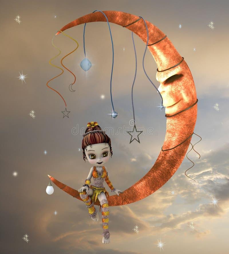 Leuk elf op de maan stock illustratie