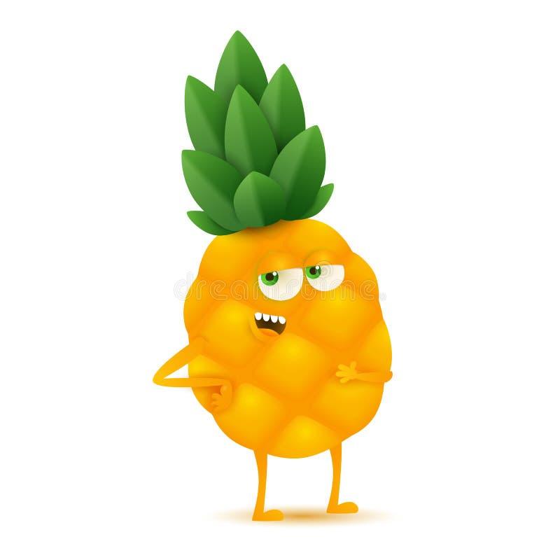 Leuk en grappig ananaskarakter, beeldverhaal vectordieillustratie op witte achtergrond wordt geïsoleerd royalty-vrije illustratie