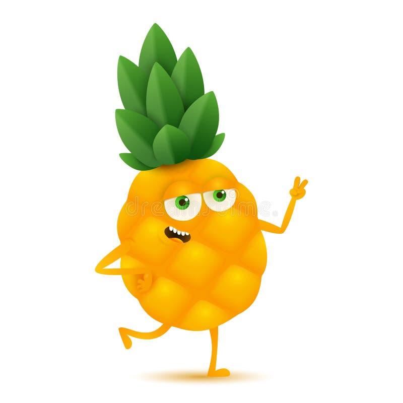 Leuk en grappig ananaskarakter, beeldverhaal vectordieillustratie op witte achtergrond wordt ge?soleerd stock illustratie