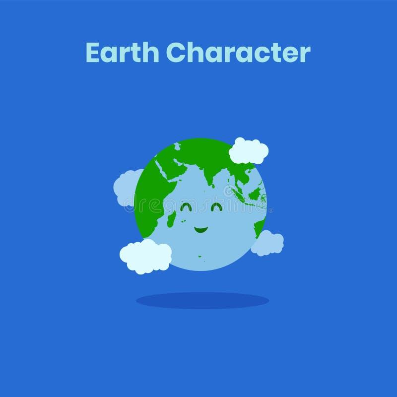 Leuk en grappig glimlachend aardekarakter voor aardedag royalty-vrije illustratie