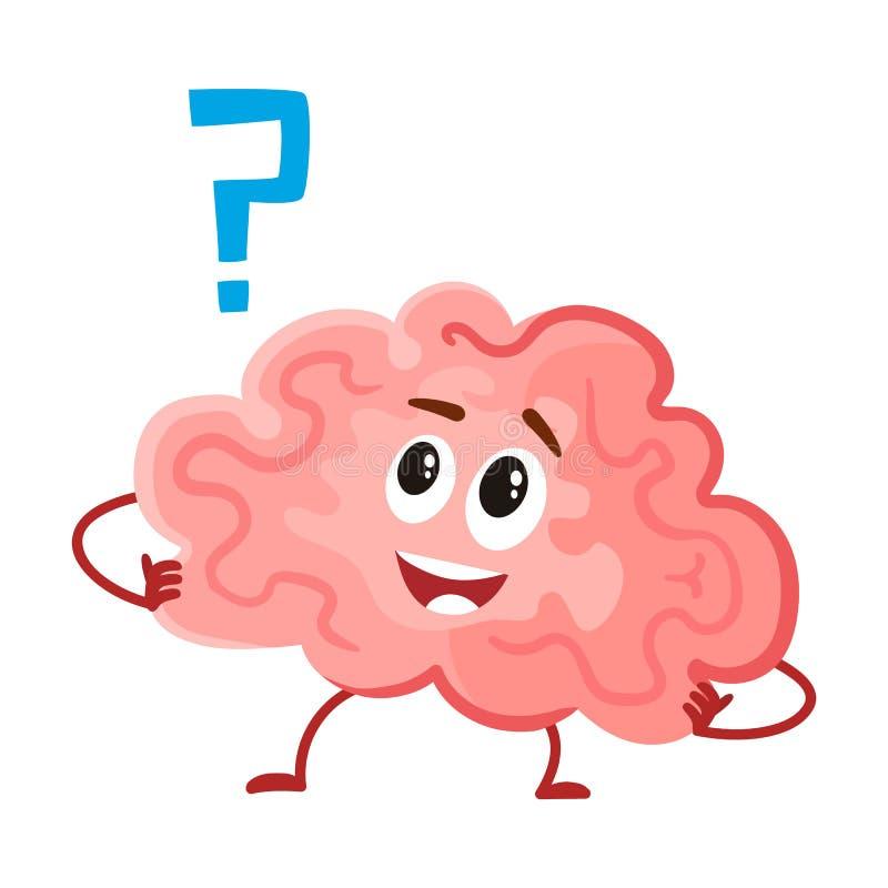 Leuk en grappig, glimlachend menselijk hersenenkarakter, intellectueel, het denken orgaan royalty-vrije illustratie