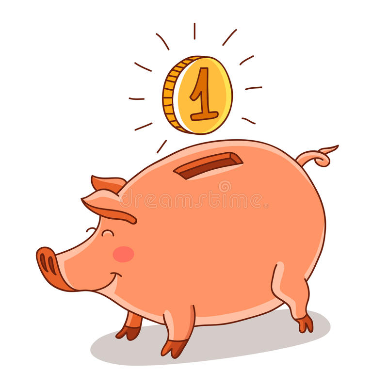 Leuk en grappig roze spaarvarken stock illustratie