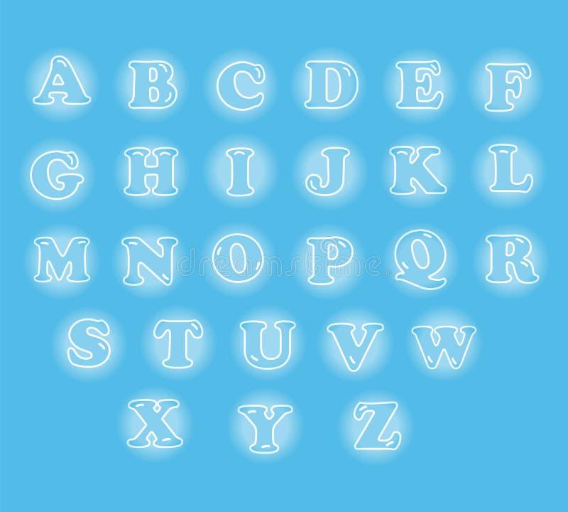 Leuk Engels die alfabet in gloeiende bel wordt geplaatst vector illustratie