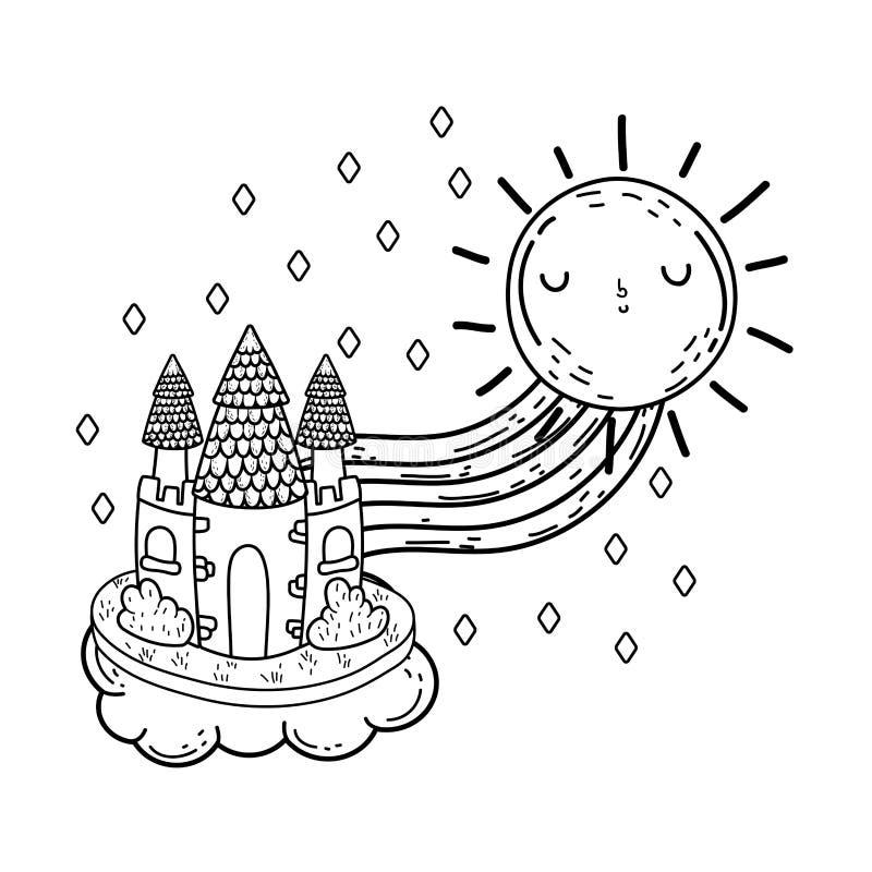 Leuk fairytalekasteel met regenboog en zonkawaii stock illustratie