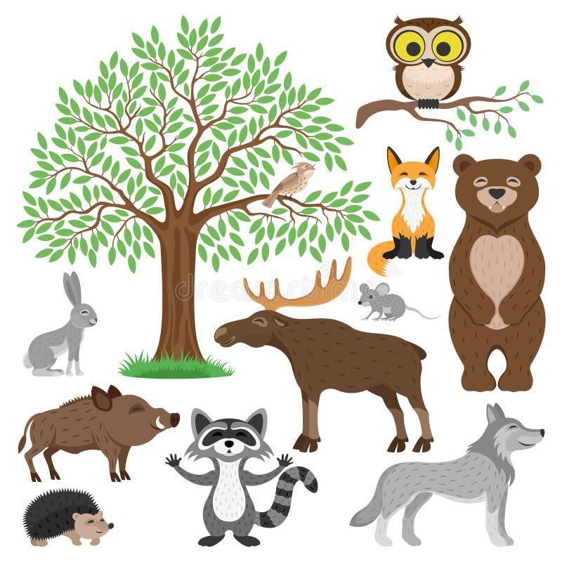 Leuk Forest Animals royalty-vrije illustratie