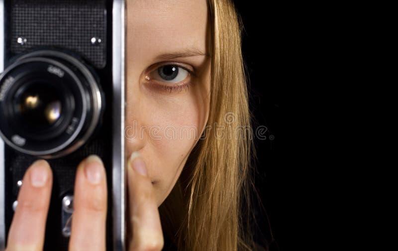 Leuk fotograafportret. Uitstekende camera stock fotografie
