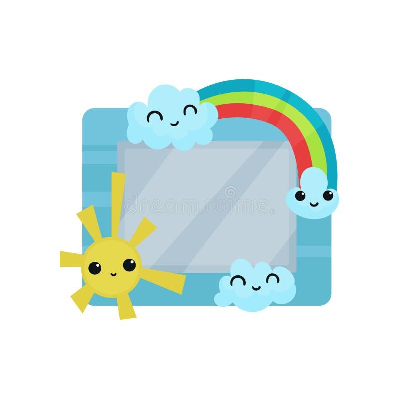 Leuk fotokader met zon, regenboog en wolken, albummalplaatje voor jonge geitjes met ruimte voor foto of tekst, kaart, omlijsting royalty-vrije illustratie