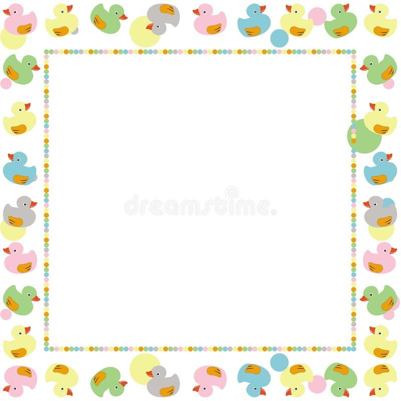 Leuk frame voor kinderen dat met kleurrijke eenden wordt gemaakt vector illustratie