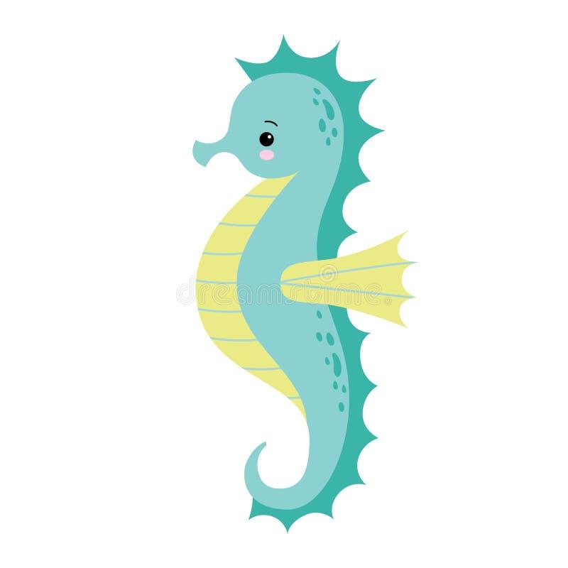 Leuk geïsoleerd beeldverhaalzeepaardje Seahorse op een witte achtergrond, vectorillustratie stock illustratie