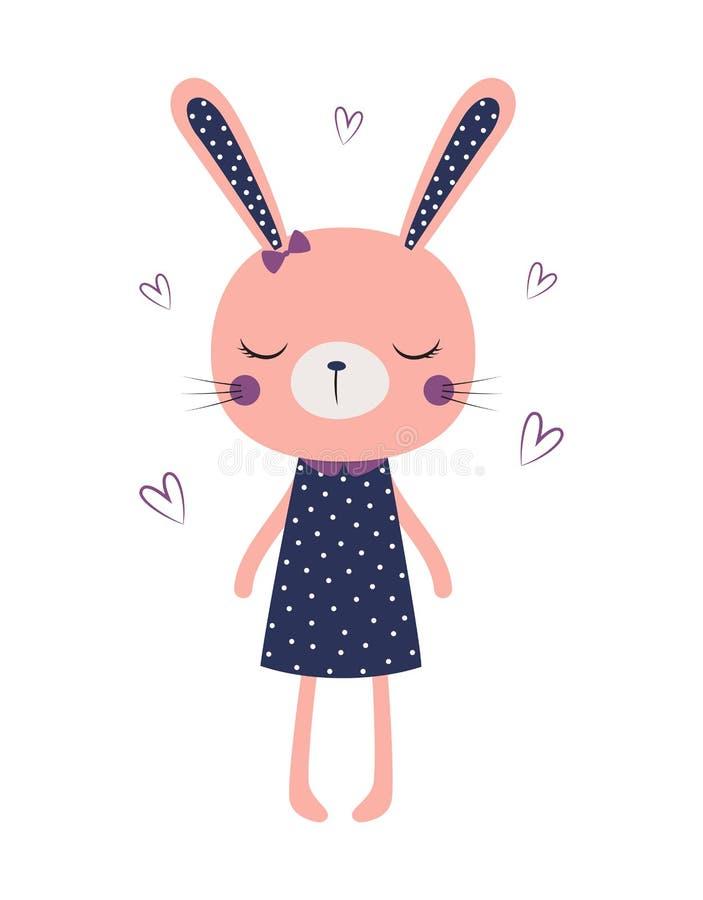 Leuk geïsoleerd konijntjesmeisje stock illustratie