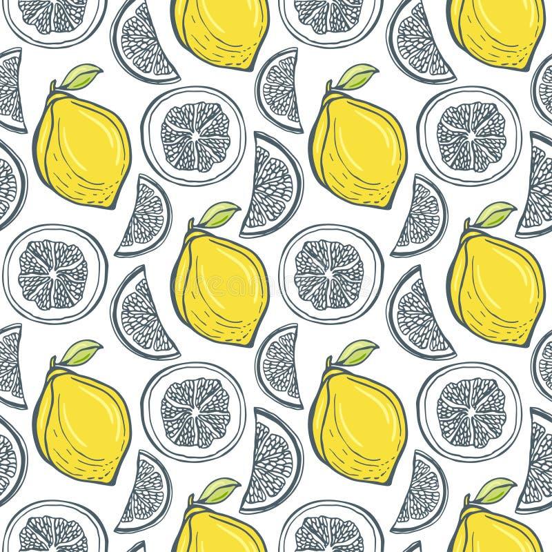 Leuk geel citroenenpatroon Handdrawn vector stock illustratie