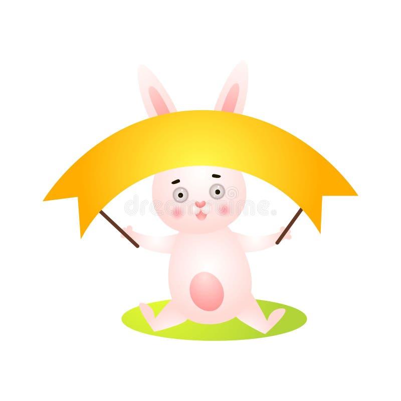 Leuk gelukkig Pasen-konijn met lange gouden banner stock illustratie