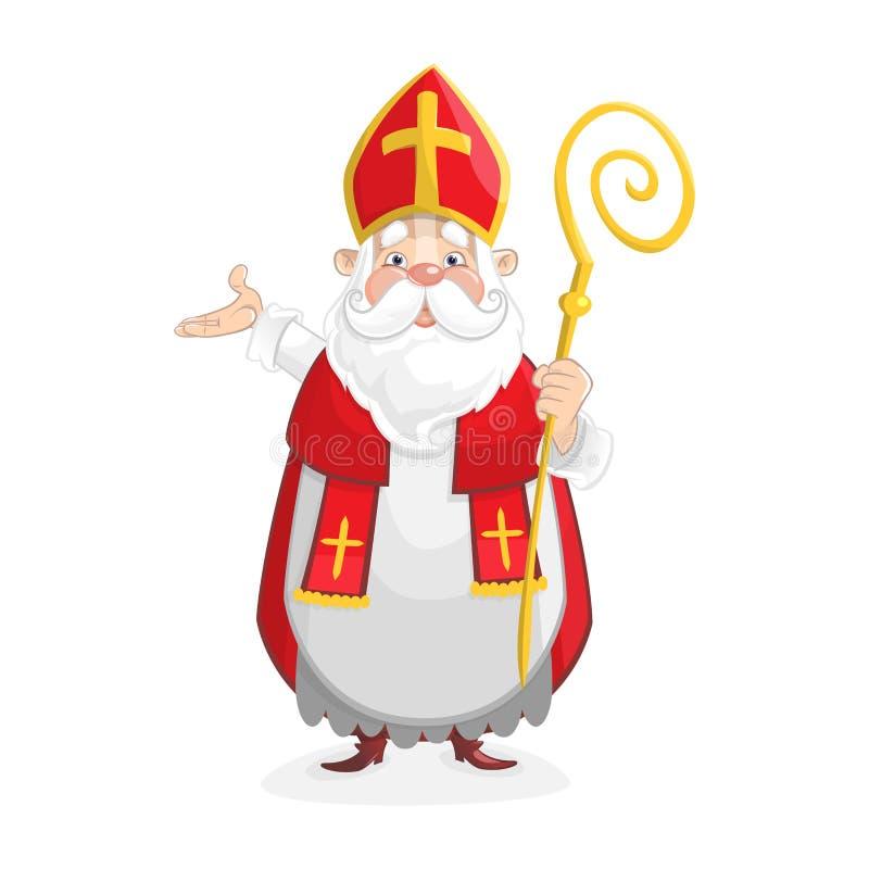 Leuk Gelukkig Sinterklaas-beeldverhaalkarakter royalty-vrije illustratie