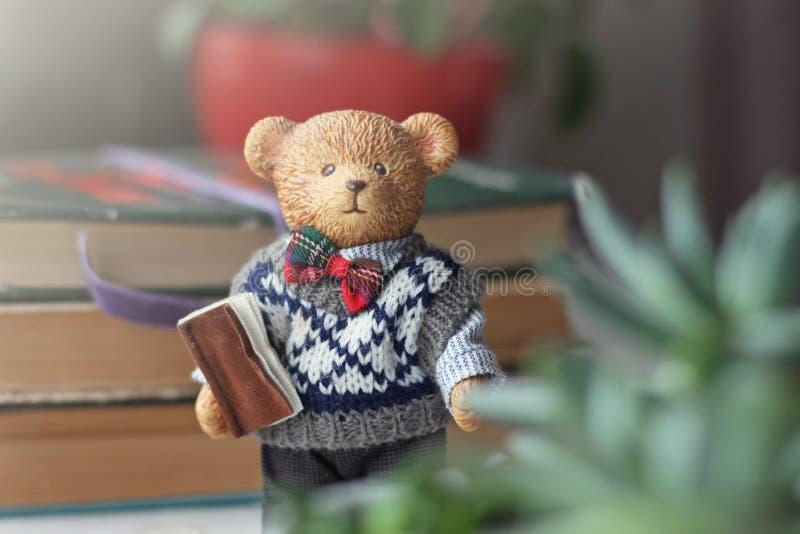 Leuk Gelukkig Teddy Bear met boek Ceramische Modellen stock afbeelding