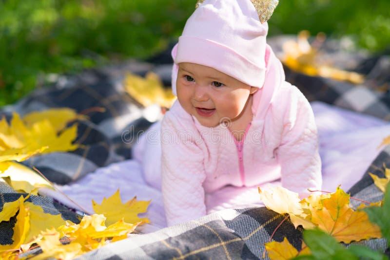 Leuk gelukkig weinig baby die in openlucht in de herfst spelen stock fotografie