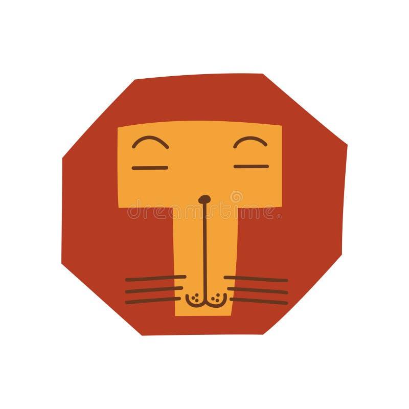 Leuk Gestileerd Lion Head, Ontwerpelement kan voor T-shirtdruk, Affiche, Kaart, Etiket, Kenteken Vectorillustratie worden gebruik royalty-vrije illustratie