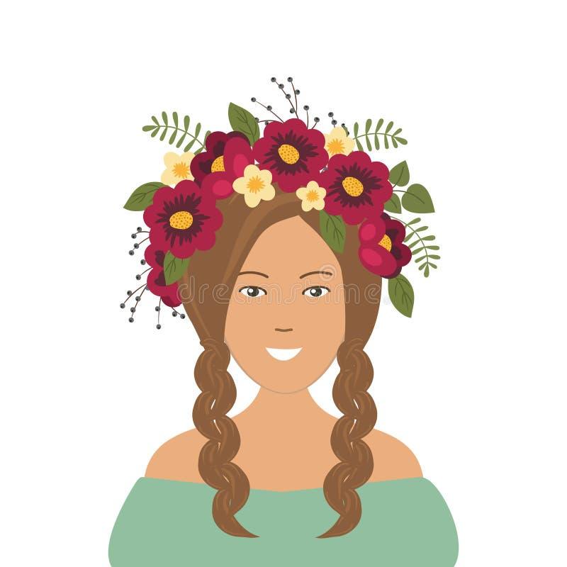 Leuk glimlachend meisje met vlechten in een kroon van bloemen royalty-vrije illustratie