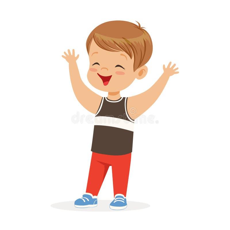 Leuk glimlachend weinig jongen in het karakter vectorillustratie van het vrijetijdskledings kleurrijke beeldverhaal royalty-vrije illustratie