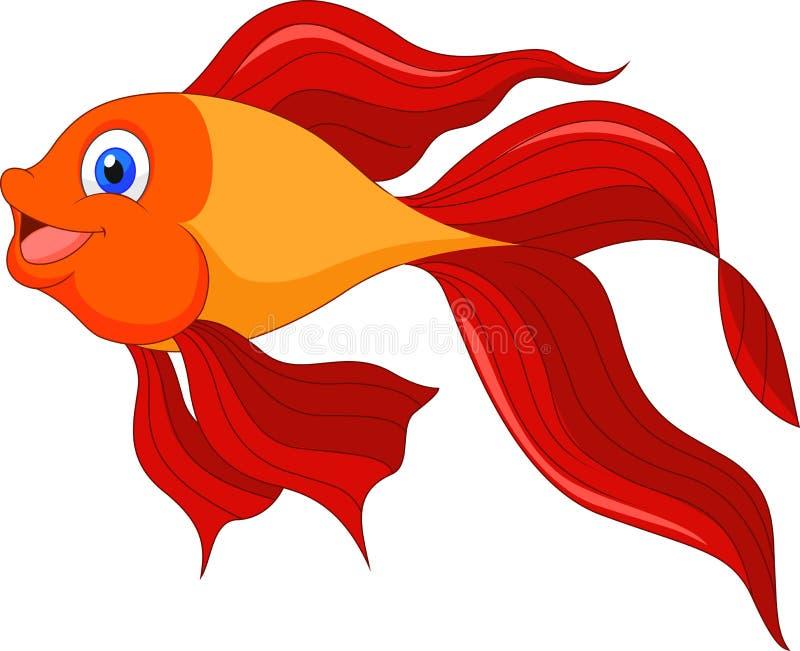 Leuk gouden vissenbeeldverhaal vector illustratie