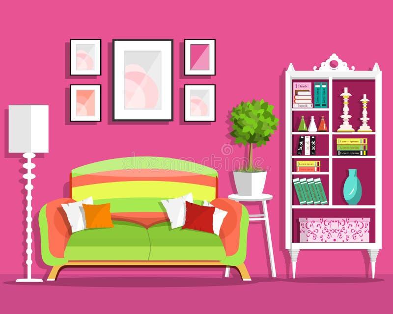 Leuk grafisch woonkamer binnenlands ontwerp met meubilair: bank, bloempot, boekenkast, lamp vector illustratie
