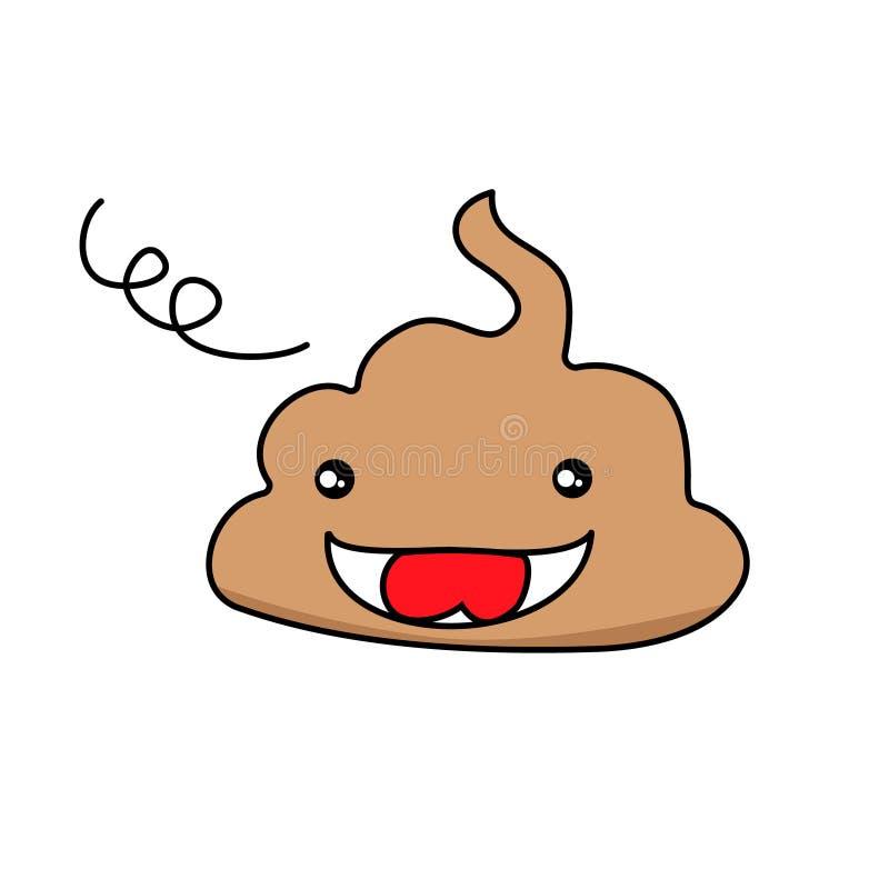 Leuk grappig achterschip emoticon smileys De emotionele pictogrammen van shitkawaii Gelukkig, droevig glimlachen, boos, vrij Vect stock illustratie