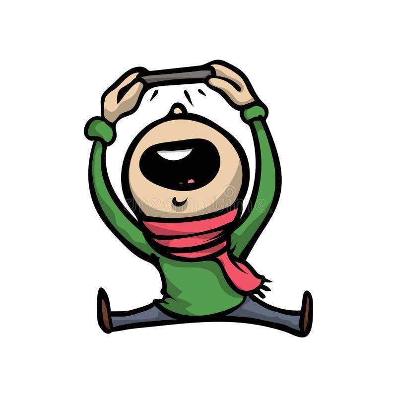 Leuk grappig jong geitje in groene sweater die selfie foto doen vector illustratie