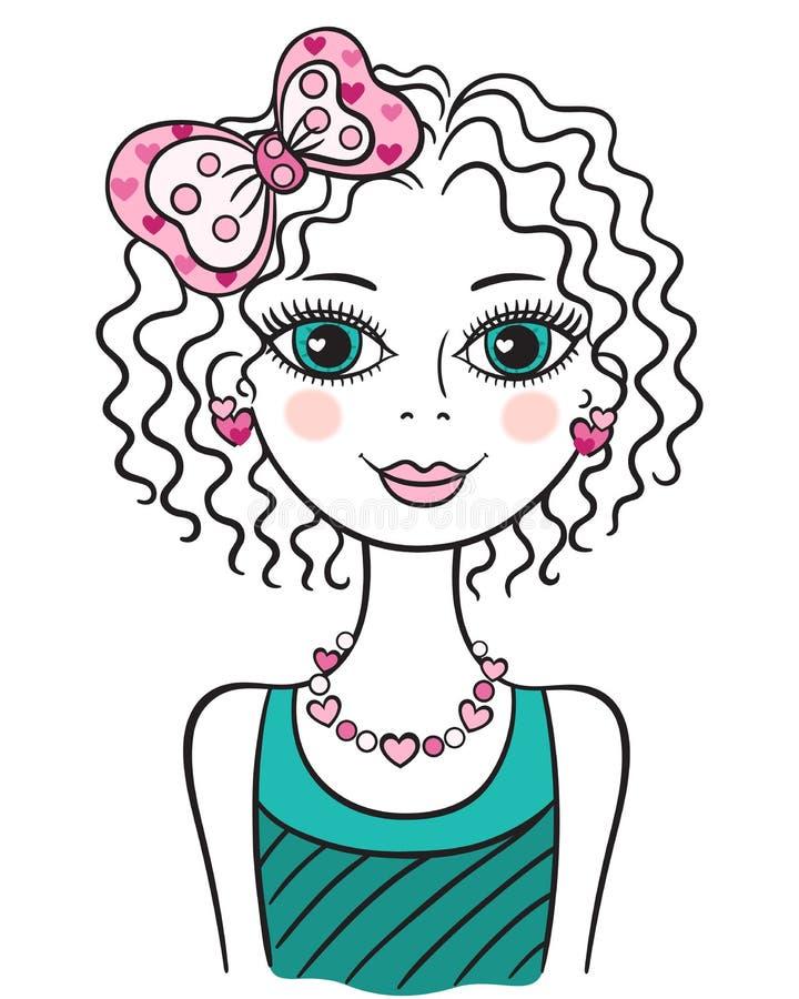 Leuk grappig tienermeisje royalty-vrije illustratie