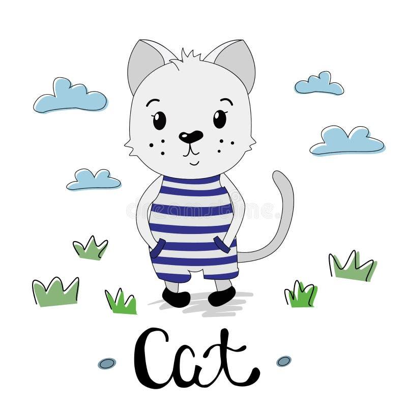 Leuk grijs katje in een gestreept kostuum royalty-vrije illustratie