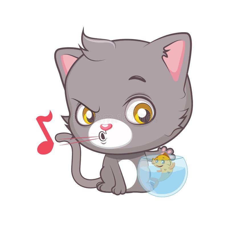 Leuk grijs kattenkarakter die een vis proberen te vangen stock illustratie