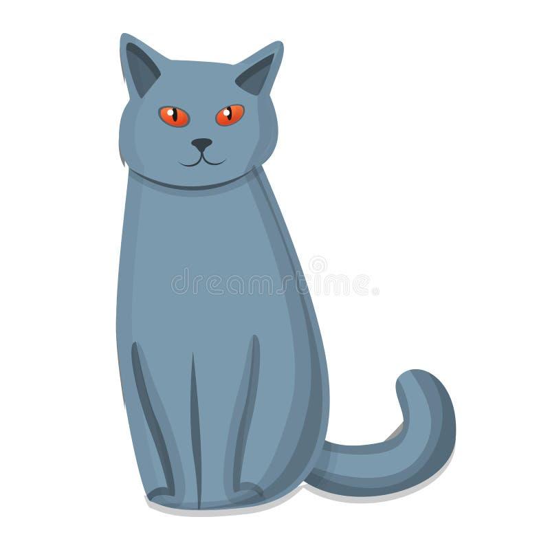 Leuk grijs kattenpictogram, beeldverhaalstijl royalty-vrije illustratie