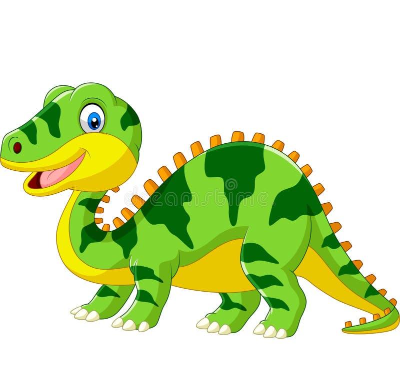 Leuk groen dinosaurusbeeldverhaal op witte achtergrond vector illustratie