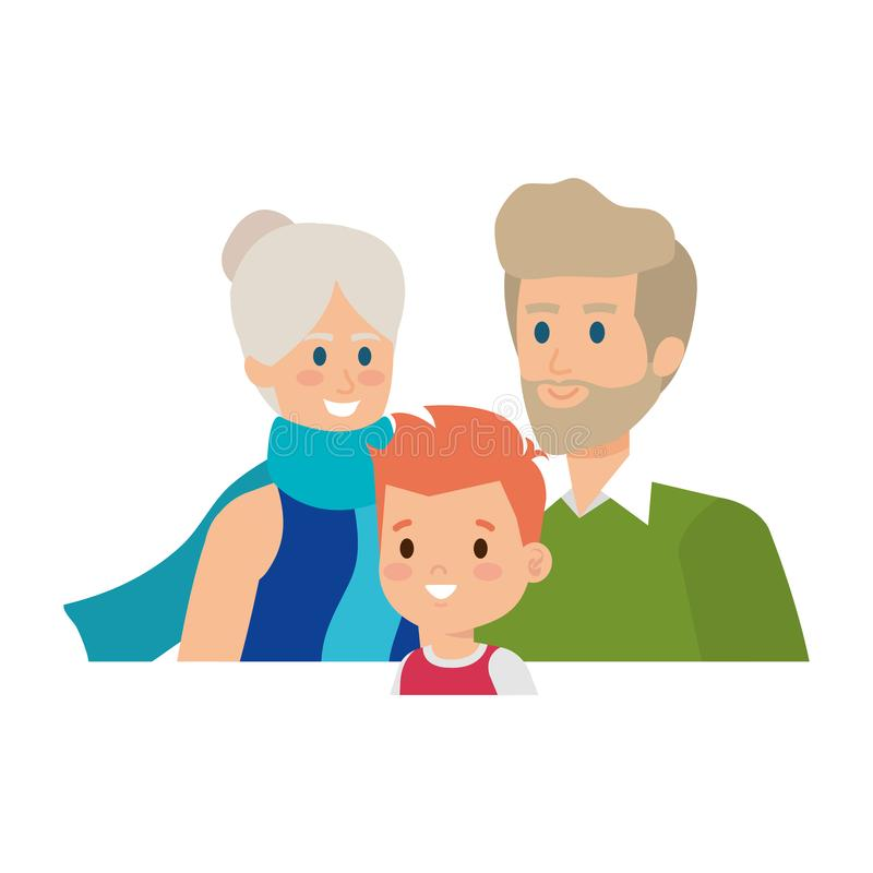 Leuk groot ouderspaar met kleinzoon stock illustratie