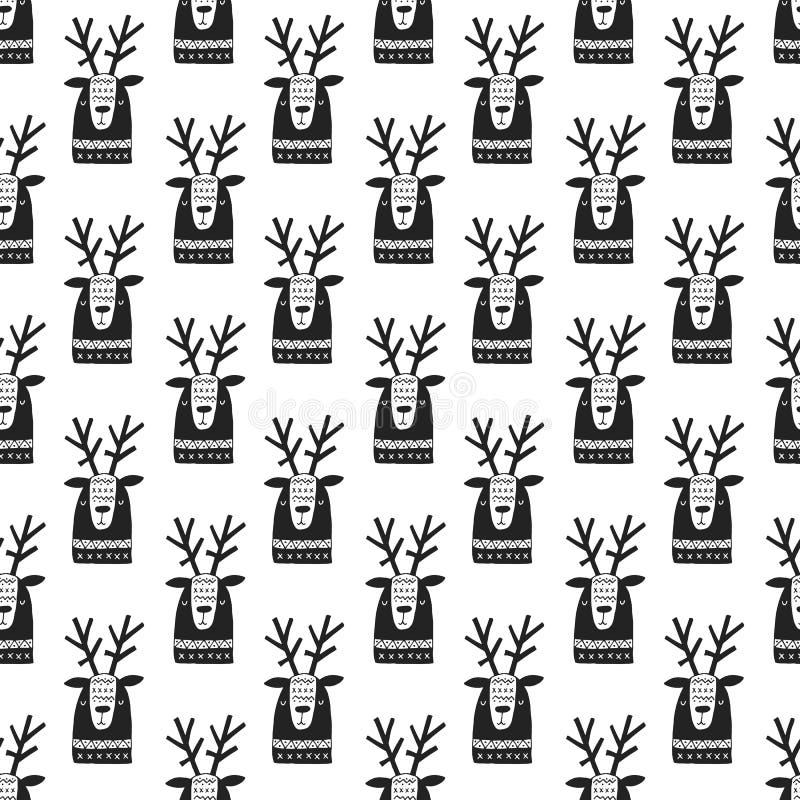Leuk hand getrokken kinderdagverblijf naadloos patroon met herten in Skandinavische stijl Zwart-wit illustratie vector illustratie